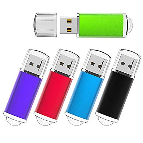 USB Flash Drives, KEXIN 5 Pack 2GB Flash Drive Thumb Drive Memory Stick Data Storage Jump Drive Zip Drive Pen Drives 5 Color USB2.0(Black,Blue,Green,Purple,Red)