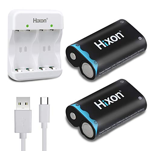 Hixon Xbox One Controller Battery Pack, 2x2500 mAh Rechargeable Battery Pack,3H Quick Charging for Xbox One/Xbox One S/Xbox One X/Xbox One Elite Wireless Controller(2pcs Batteries &1 Charger Set)
