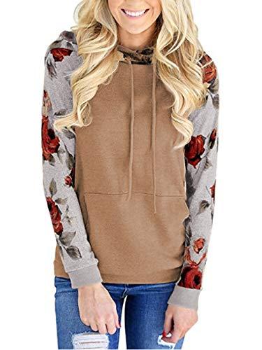Famulily Womens Floral Printed Long Sleeve Pullover Hoodies Hooded Sweatshirt Casual Raglan Shirts with Kangroo Pockets Khaki S