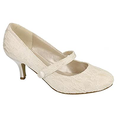 NEW SATIN OR LACE WEDDING BRIDAL MID KITTEN HEEL COURT PUMP SHOES ...