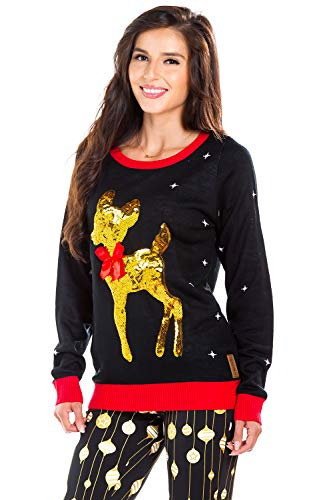 Tipsy Elves Womens Sequin Little Deer Christmas Sweater - Black Baby Deer with Bow Ugly Christmas Sweater