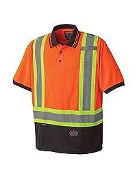 Pioneer V1051350-M Birdseye Safety Polo Shirt, Orange, Medium