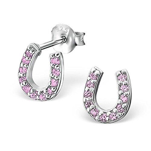 925 Sterling Silver Pink CZ Horseshoe Stud Earrings (Pink Horseshoe)