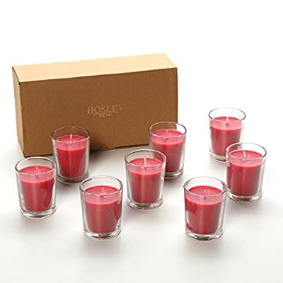 Hosley Premium, Highly Scented Set of 8, Apple Cinnamon, Essential Oils, Votive Candles in Clear Glass. Burns upto 12 hours each. Great Gift for Home, Patio, Gardens