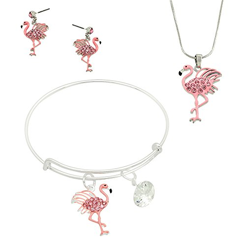 Lola Bella Gifts Crystal Pink Flamingo Necklace Earrings and Bracelet Set w Gift Box