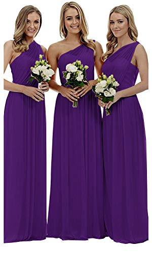 (Women's One Shoulder Bridesmaid Dresses Long Asymmetric Chiffon Wedding Party Gowns Purple US22W)