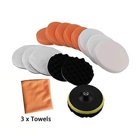 Newgrees Juego de Almohadillas de Esponja Pulidoras de Pulido de 18 Piezas Auto Limpiador Pulidor Auto Clean: Amazon.es: Coche y moto