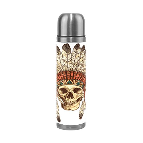 Double Flask 17 ALAZA Proof Steel Wall Skull Headdress Insulated Vacuum Thermos Leathe Leak Genuine Cover 100 Indian Stainless Water Oz Bottle With 4T4YrW1