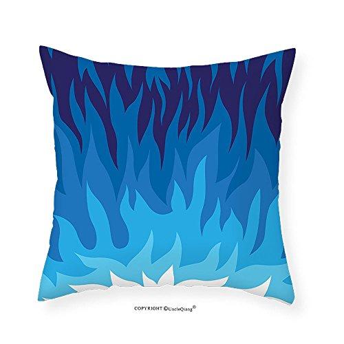 VROSELV Custom Cotton Linen Pillowcase Trippy Gas Flame Background Exploding Motion Energy Fire Modern Illustration for Bedroom Living Room Dorm Violet Blue 24