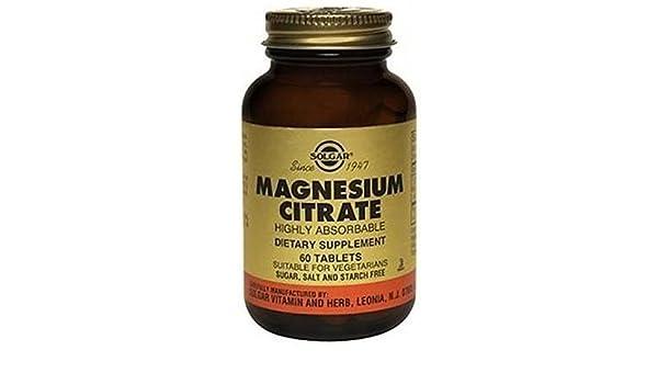 Citrato de Magnesio 60 comprimidos de Solgar: Amazon.es: Salud y cuidado personal