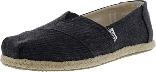 TOMS Women's Classics Flat Black Washed Canvas Rope Sole Size 7.5 B(M) US