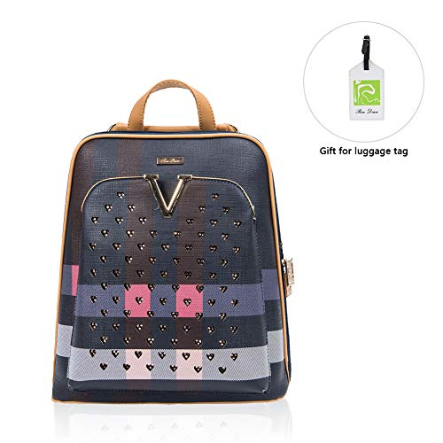 Purse Shoulder Blue Travel Backpack Cute Mini Leisure�� Anti Bling Theft RenDian Women's Fashion School for Bags Leather BfxXx