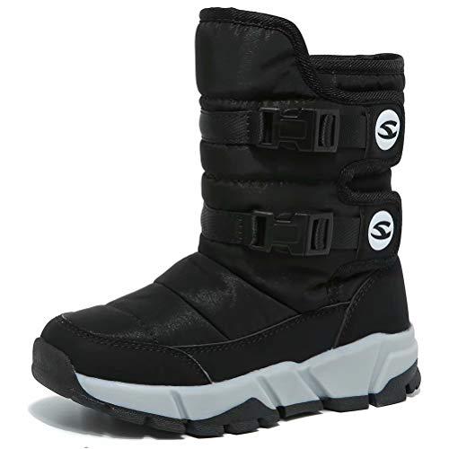 Boys Snow Boots Outdoor Waterproof Winter Kids Shoes Little Kid 11, Black 1