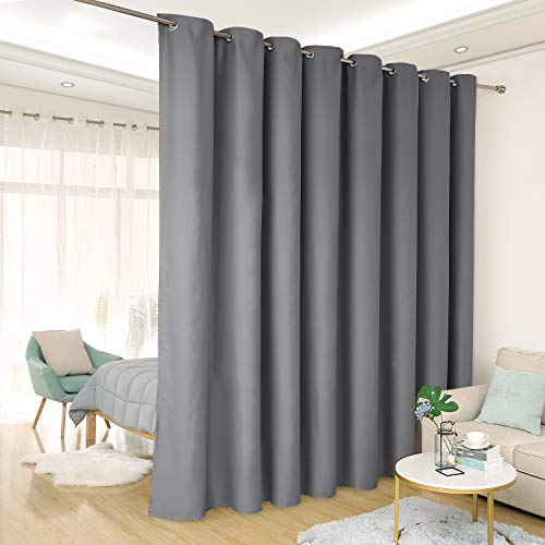 Deconovo Privacy Room Divider Curtain Thermal Insulated Blackout Curtains Extra Large Screen Partitions Room Darkening Panel for Sliding Door, 15ft Wide x 9ft Tall 1 Panel Dark Grey For Sale