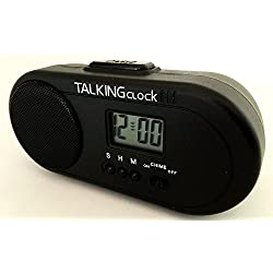 TALKING HUMAN VOICE SPANISH SPEAKING BATTERY POWERED TRAVEL ALARM CLOCK. VERY LOUD, VERY LARGE SPEAKER. Hourly chime. Snooze Alarm. Three alarm sounds including rooster. Great for HEAVY SLEEPERS !