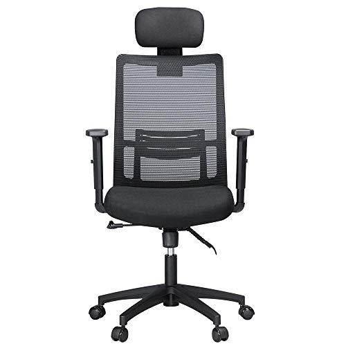 Topeakmart Mesh Executive High Back Ergonomic Computer Chair Task Swivel  Chair With Adjustable Lumbar Support Backrest/Armrests/Seat/Padded Headrest  Black ...