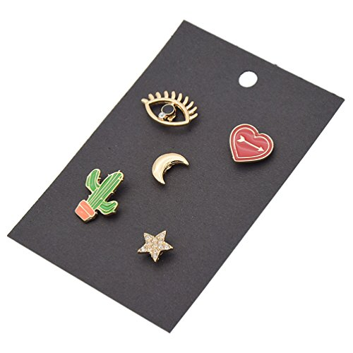 Enamel Breastpins Star Moon Flower Clothes Shirt Collar Brooch Lapel Pins 1 Set