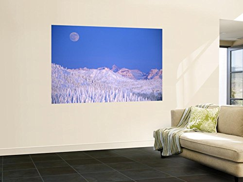 Full Moon Rising Above Glacier National Park Peaks, Whitefish, Montana, USA Wall Mural by Chuck Haney 48 x (Frost Chuck)