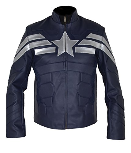 MSHC Captain America CA5 Winter Soldier FAUX Leather Jacket (2XL) Blue