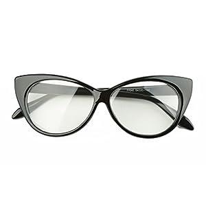 Beison Vintage Cateye Optical Eyeglasses Frame Plain Glasses Clear Lens (Shiny black, 54mm)
