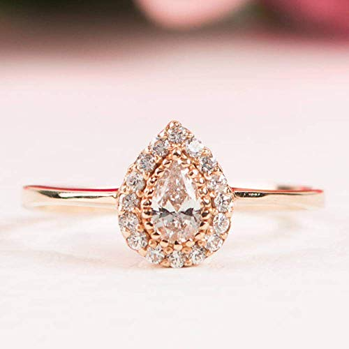 Halo Engagement Ring 14K Rose Gold Pear CZ Stone (Solid Gold Cz Engagement Ring)