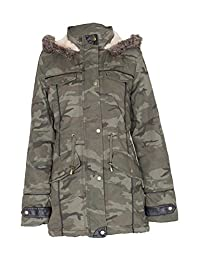 Noroze Womens Military Fur Oversized Hood Parka Coat
