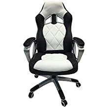 ViscoLogic® Series YF-2710 WB Gaming Racing Style Swivel Office Chair, WHITE/BLACK