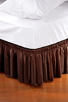 Review Wrap Around Style Easy Fit Elastic Bed Ruffles For King And Queen Size Beds, Chocolate