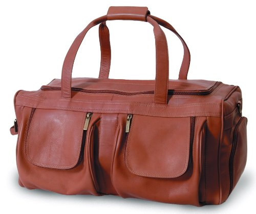 (Clava Vachetta Extra Large Pocket Leather Duffel Bag in Tan)