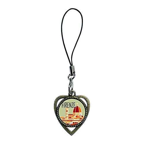 (GiftJewelryShop Ancient Bronze Retro Style Firenze Photo Heart Shaped Strap Hanging Chain for Phone Cell Phone Charm)