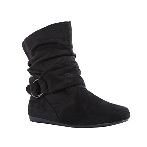 Coshare Women's Fashion Wrinkled Metal Wrap Slouch Booties