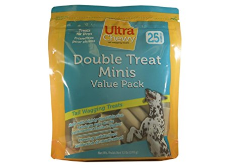 Ultra Chewy Double Treat Minis, 13-Ounce Bags (Pack of 4) Good Flavored Rawhide Bone
