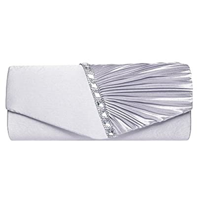 Fashion Road Womens Pleated Crystal Evening Clutch Handbags Wedding Party Clutch Purse Silver