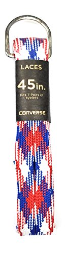 (Converse Unisex Replacement Cord Shoe Laces Flat Style Shoelaces (Red, White, Blue, 45))