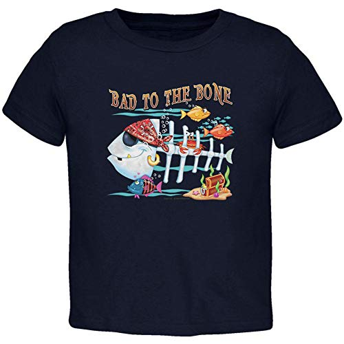 - Bad to The Bone Pirate Fish Toddler T Shirt Navy 2T