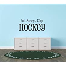 Decals & Stickers : Eat Sleep Play Hockey Sports Quote Sign Car Bumper Window Banner Kids Children Boy Girl Team Pride Encouragement Living Room Bedroom Kitchen Home Decor Picture Art Image Peel & Stick Graphic Mural Design Decoration - Discounted Sale Item - Size : 12 Inches X 26 Inches - 22 Colors Available