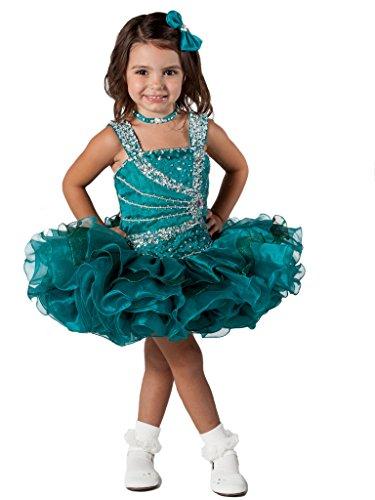 Aisha Little Girls' Cupcake Dress Toddler Short Pageant Dress 2/2T US Teal ()