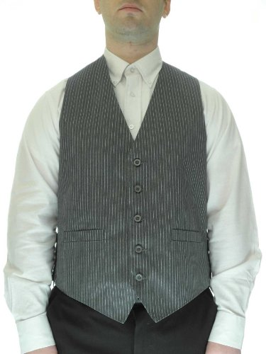 Pinstripe Silver Dress Vest for Men, (Ganster Suit)