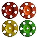 """Set of 4 - 4'' Donut Wheel, Round Face, w/ Holes, Fine, Medium, Coarse, Extra Coarse Grit, Bore Size 7/8"""" - Carving Wheels, Disc Sanders by Saburr Tooth - Rotary, Shank, Wood, Power carving tool"""