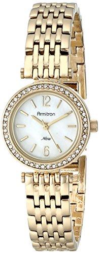 (Armitron Women's 75/5229MPGP Swarovski Crystal-Accented Gold-Tone Bracelet Watch)