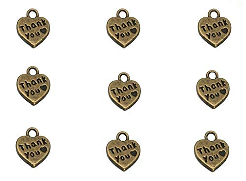 60pcs Thank You Lettering Charm Peach Heart Shape Thankful Heart Double-Sided Pendant for DIY Crafting Bracelet Necklace Accessories(Bronze Tone)
