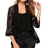Women's Hollow Lace Open Front Cardigan Ladies Solid Long Sleeve Floral Shrug Blouse