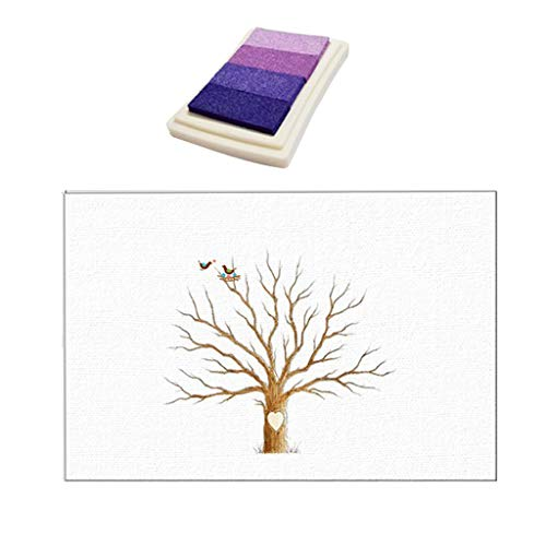 DIY Fingerprint Wedding Thumbprint Tree Painting Canvas Prints Wall Art Poster Home Decoration Fingerprint Prints with Inkpad - Purple, 30x40cm]()