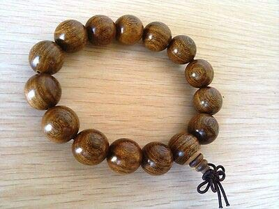 FidgetKute 15MM Nice Round Natural Nyatoh Wood Beads Bracelet for Cool Man and Fashion Man