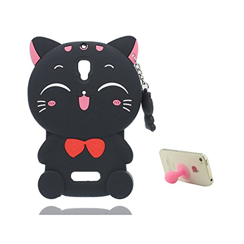 YTLightRongZhouUS 3D Silicone Protective Case for Lenovo A2010,Cute Cartoon [Pendant black cat ] Design Case Cover for Lenovo A2010 + 1 X Silicone Suction Sucker Holder