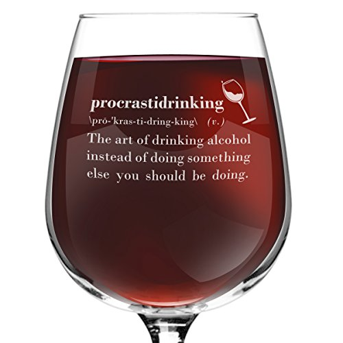 [Procrastidrinking Funny Novelty Wine Glass - 12.75 oz. - Gag Gift - Humorous Red or White Wine Glass for Mom, Women, Friends, or Her - Made in] (Cute Halloween Gifts For Coworkers)