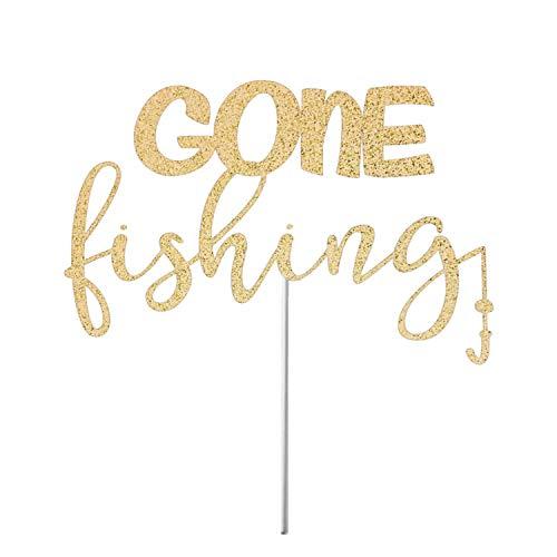 Fishing Cake Topper, Gone Fishin Cake Topper, Fishing Theme Birthday, Fishing Party Decor, Fish, Birthday Party Decor, Glitter Cake Top ()