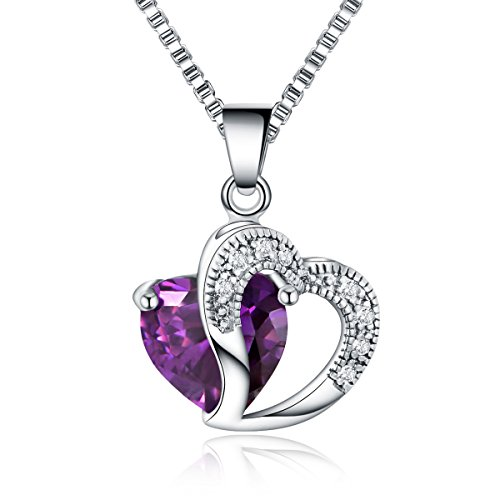 "Miki&Co Collar Colgante Plata Corazón Elementos de Swarovski Mujer Cristal, 17.7"", Púrpura"