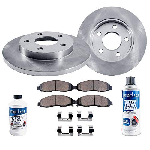 Detroit Axle - Rear Disc Brake Rotors & Ceramic Pads w/Fluids for 1995-2003 Ford Windstar 3.0L 3.8L