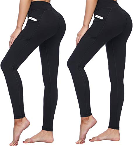 or Women with Pockets High Waist Tummy Control Leggings 4 Way Stretch Soft & Slim Active Pants (9852 Black 2 Packs, XS) ()